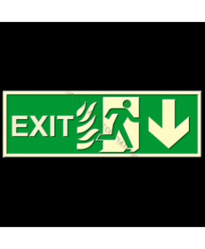 Indicatoare Fotoluminiscente Exit Cu Sageata In Jos